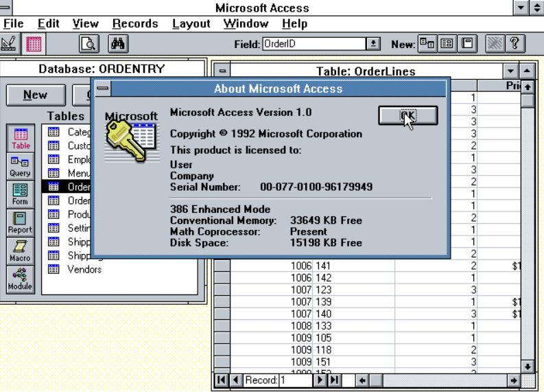 MicrosoftAccessの最初のバージョンを発売