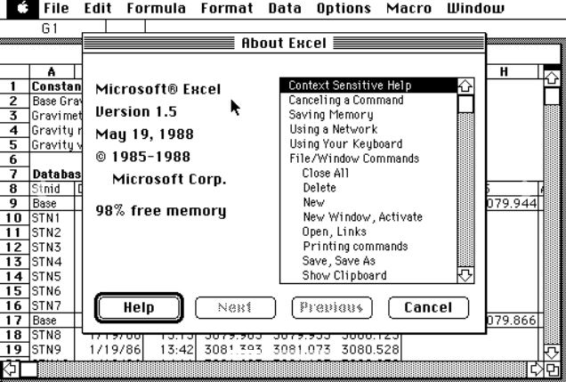 Macintosh用ソフトとして初代Excelを発表